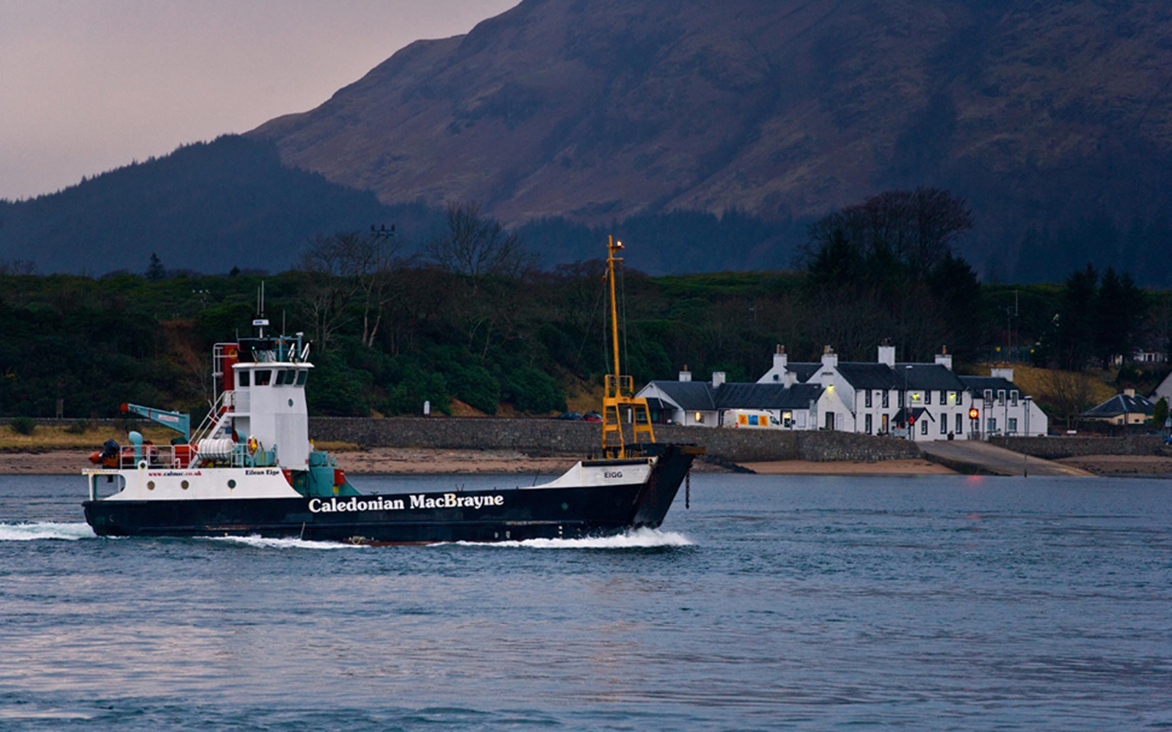 Eigg passing Ardgour, heading for Corpach (Ships of CalMac)