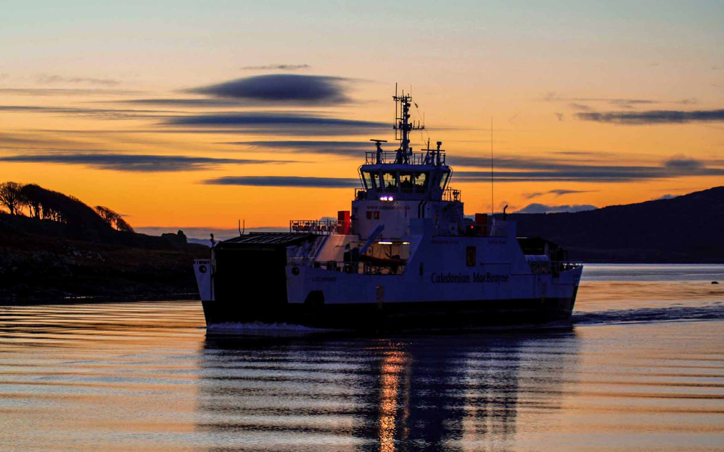 Lochinvar approaching Lochaline at sunset (Ships of CalMac)