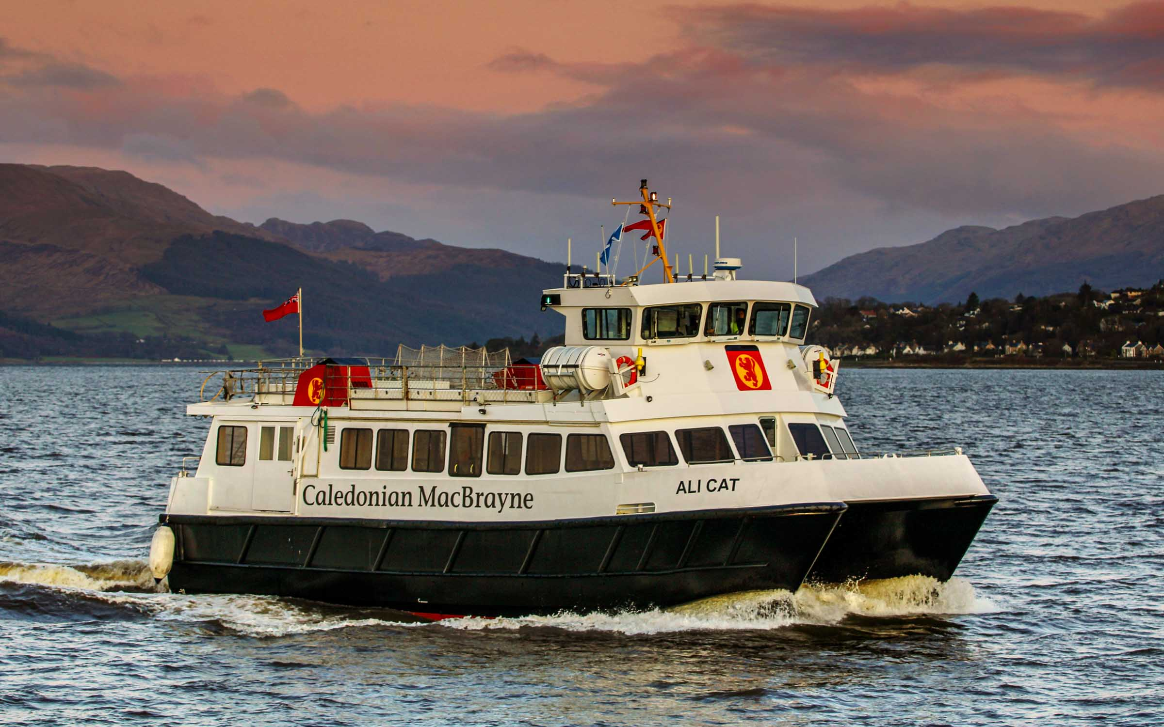 Ali Cat in Calmac colours on the route in 2020 (Ships of CalMac)
