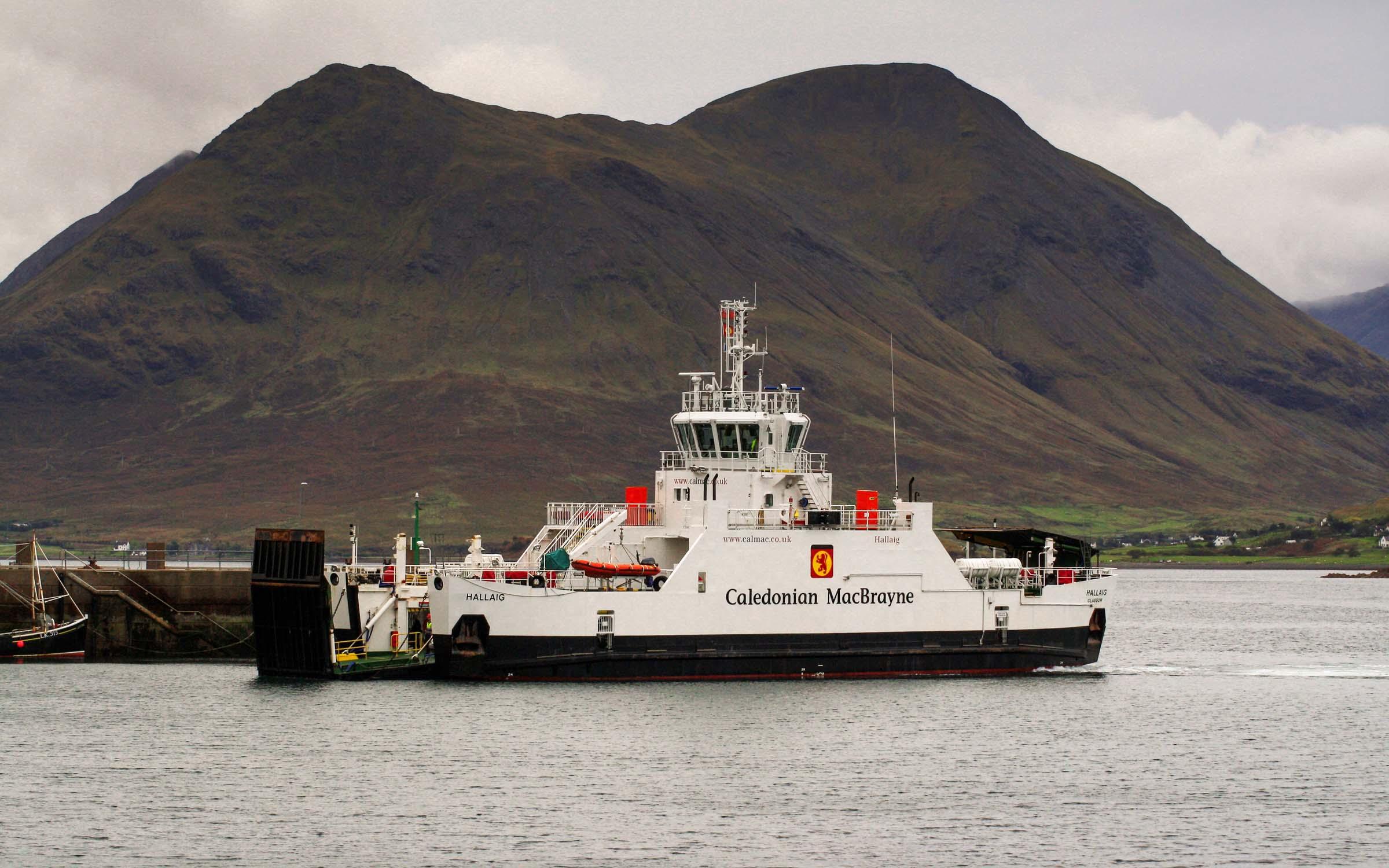 Hallaig arriving at Raasay's new pier (Ships of CalMac)