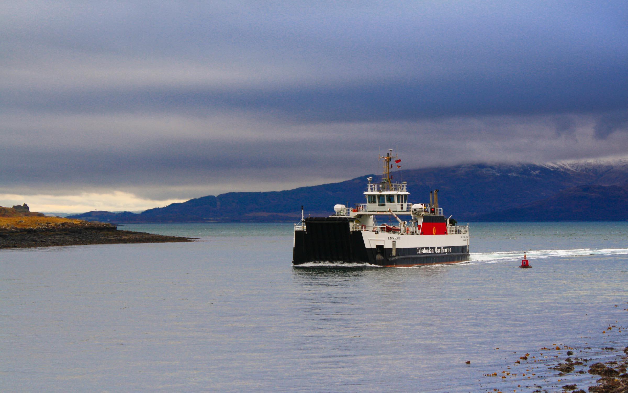 Loch Alainn approaching Lochaline (Ships of CalMac)