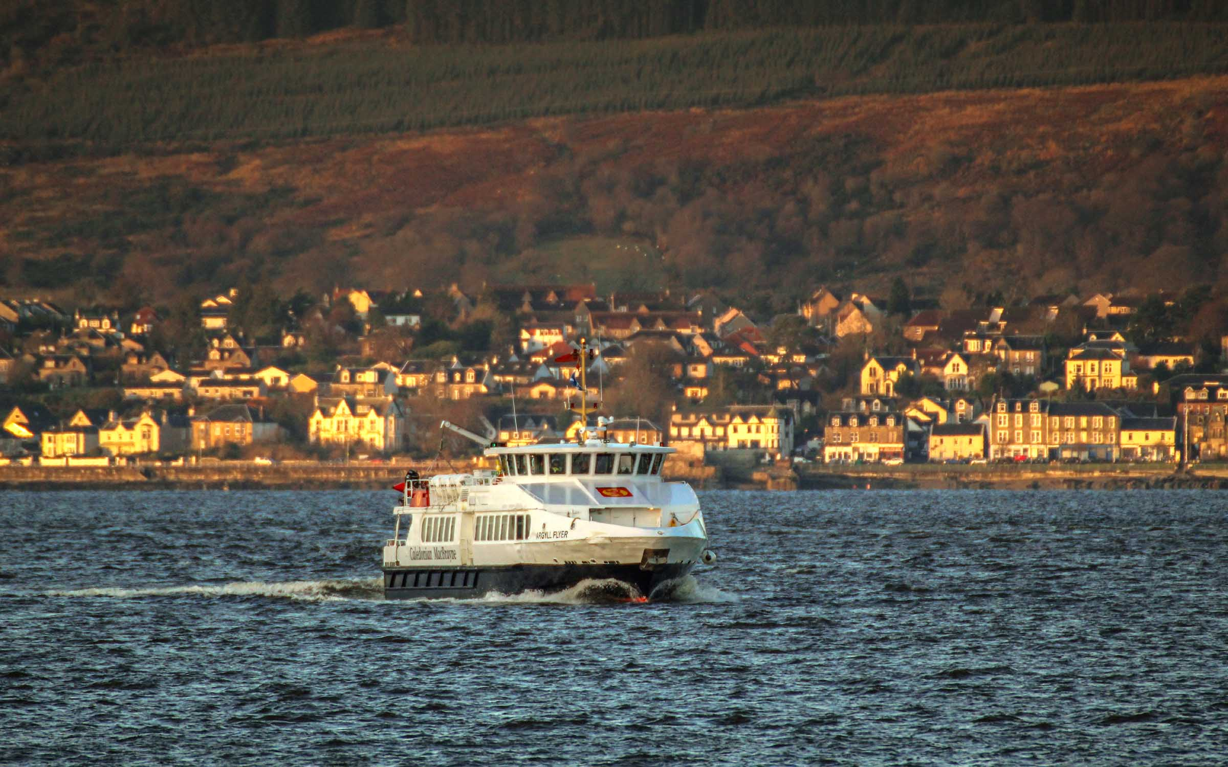 In Calmac colours with Dunoon behind