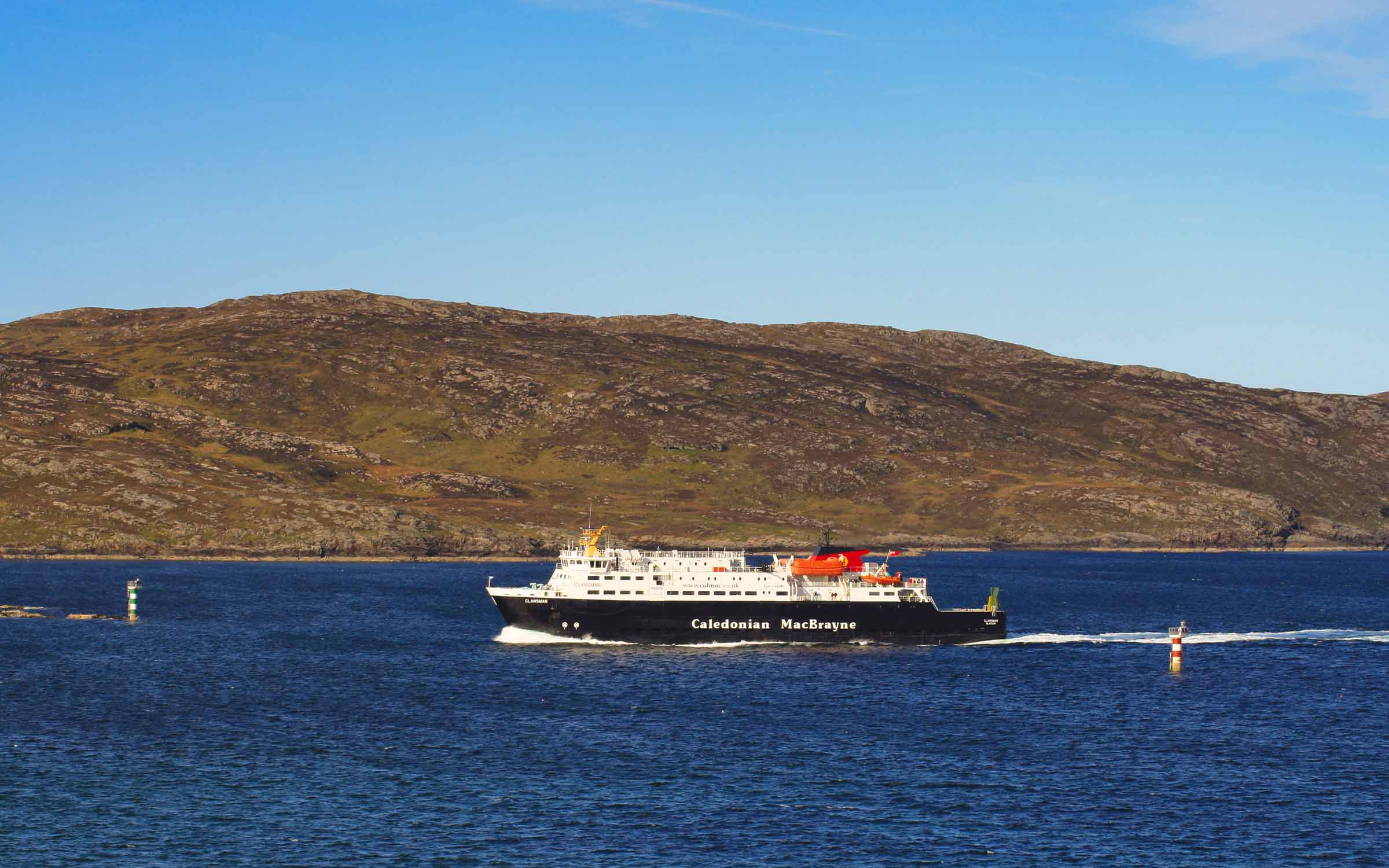 Clansman approaching Barra (Ships of CalMac)