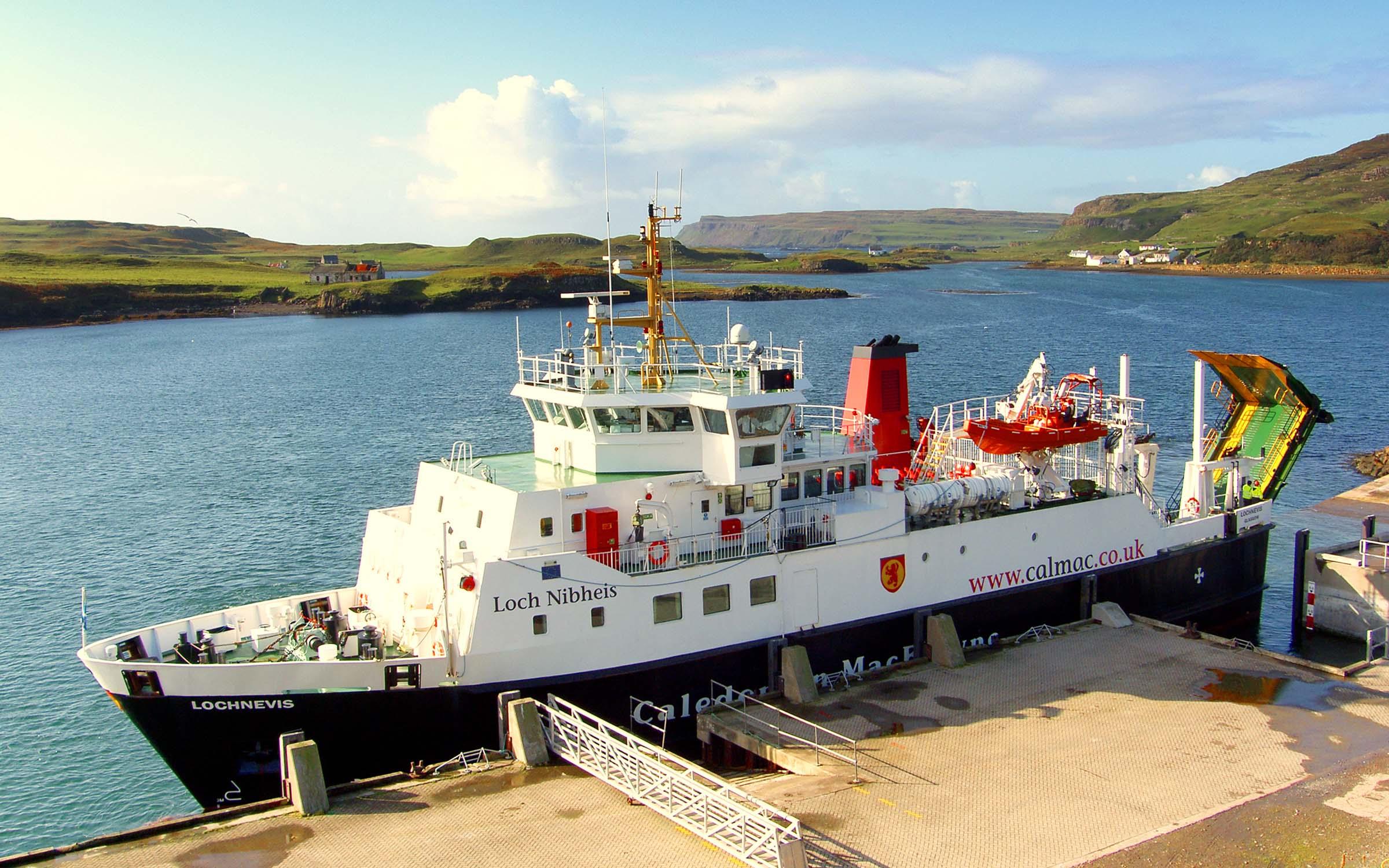 Lochnevis alongside at Canna (Ships of CalMac)