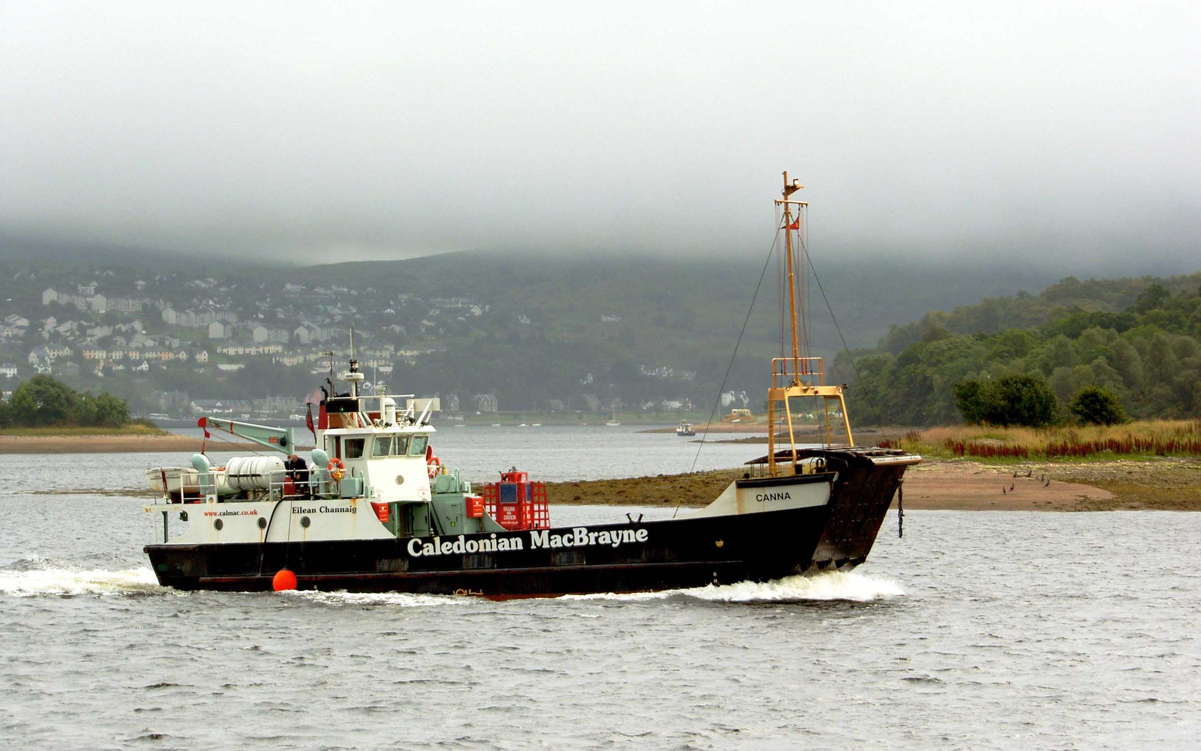 Canna approaching Corpach (Ships of CalMac)