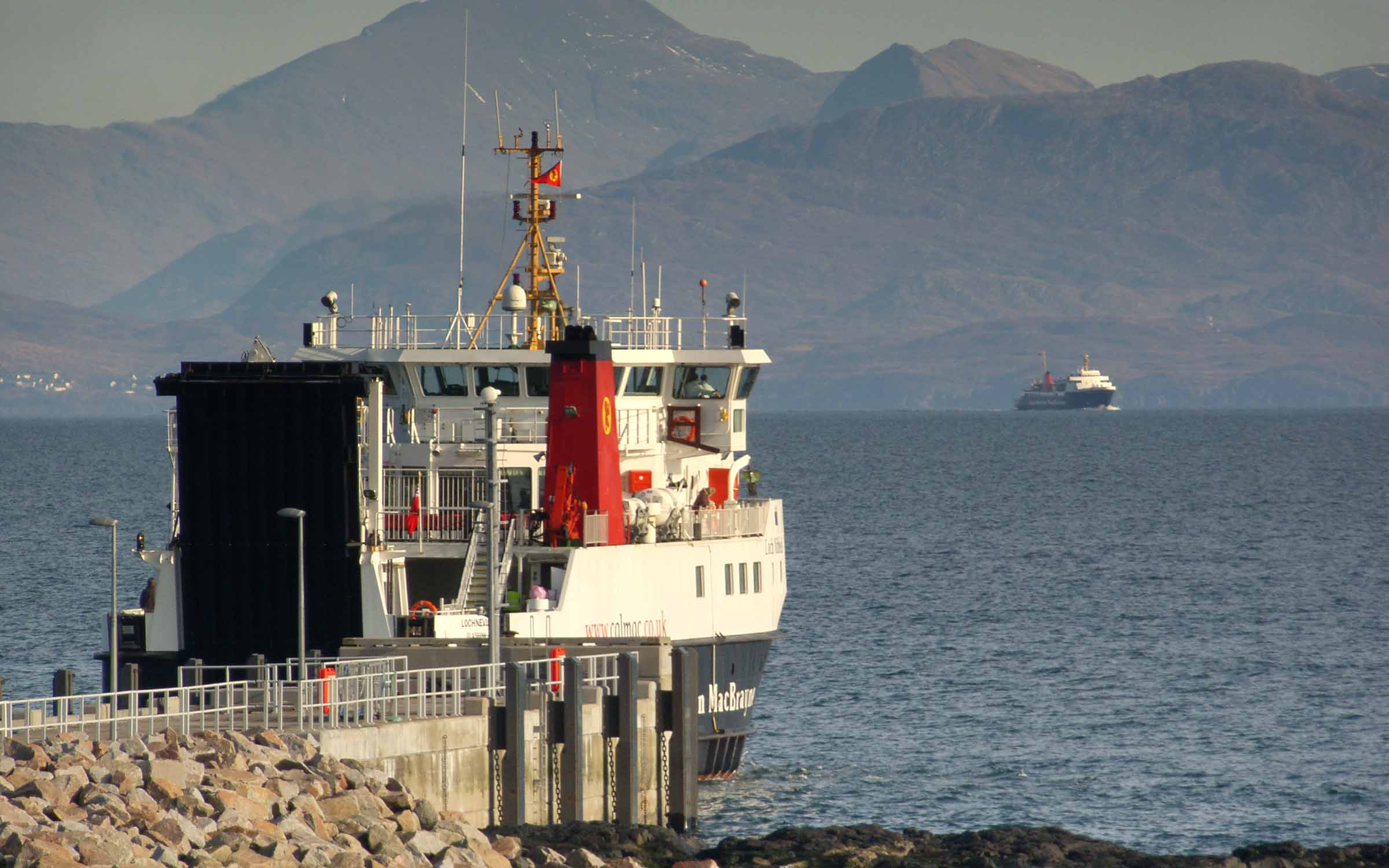 Lochnevis leaving Eigg (Ships of CalMac)