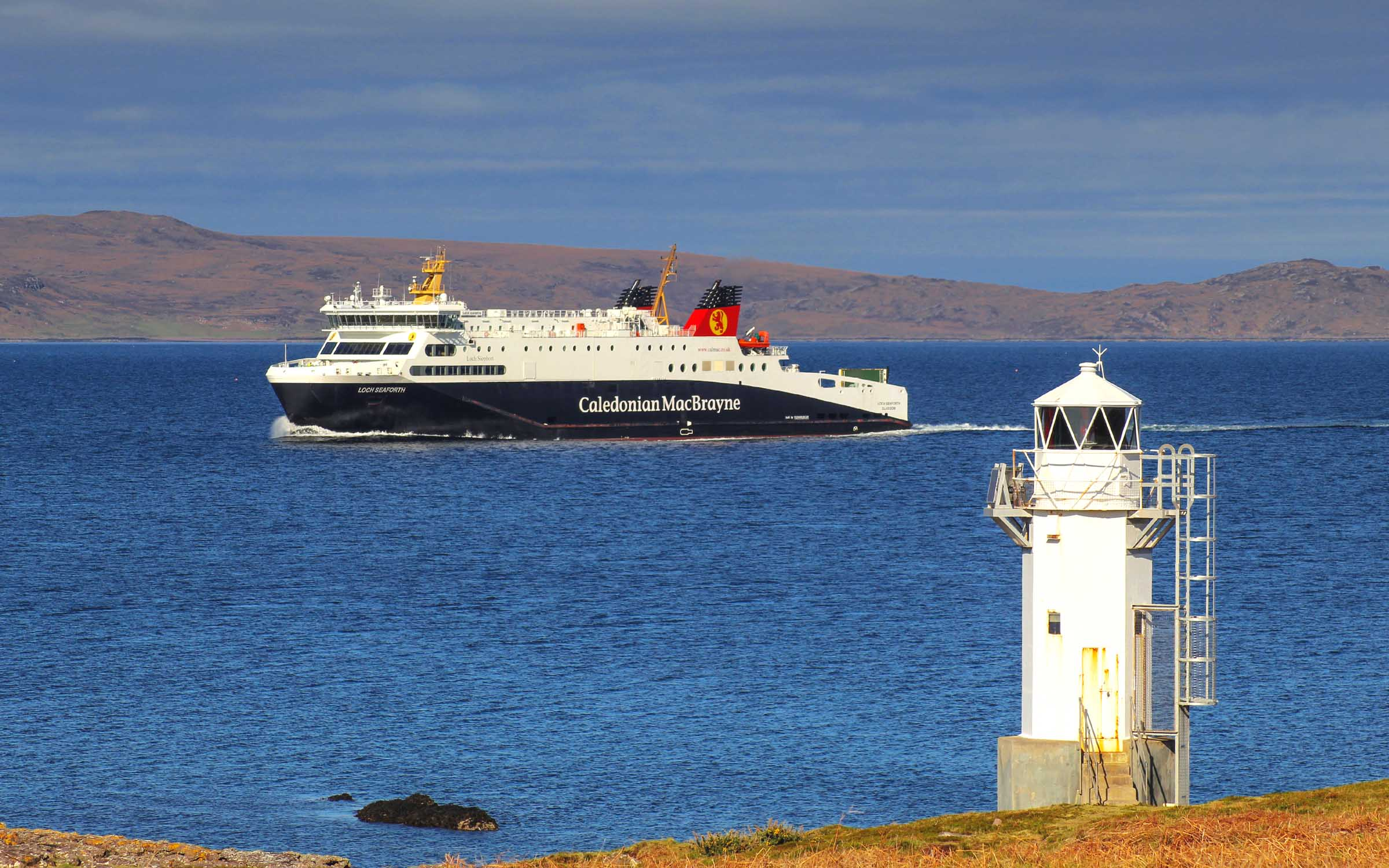 Loch Seaforth passing Rhue lighthouse (Ships of CalMac)