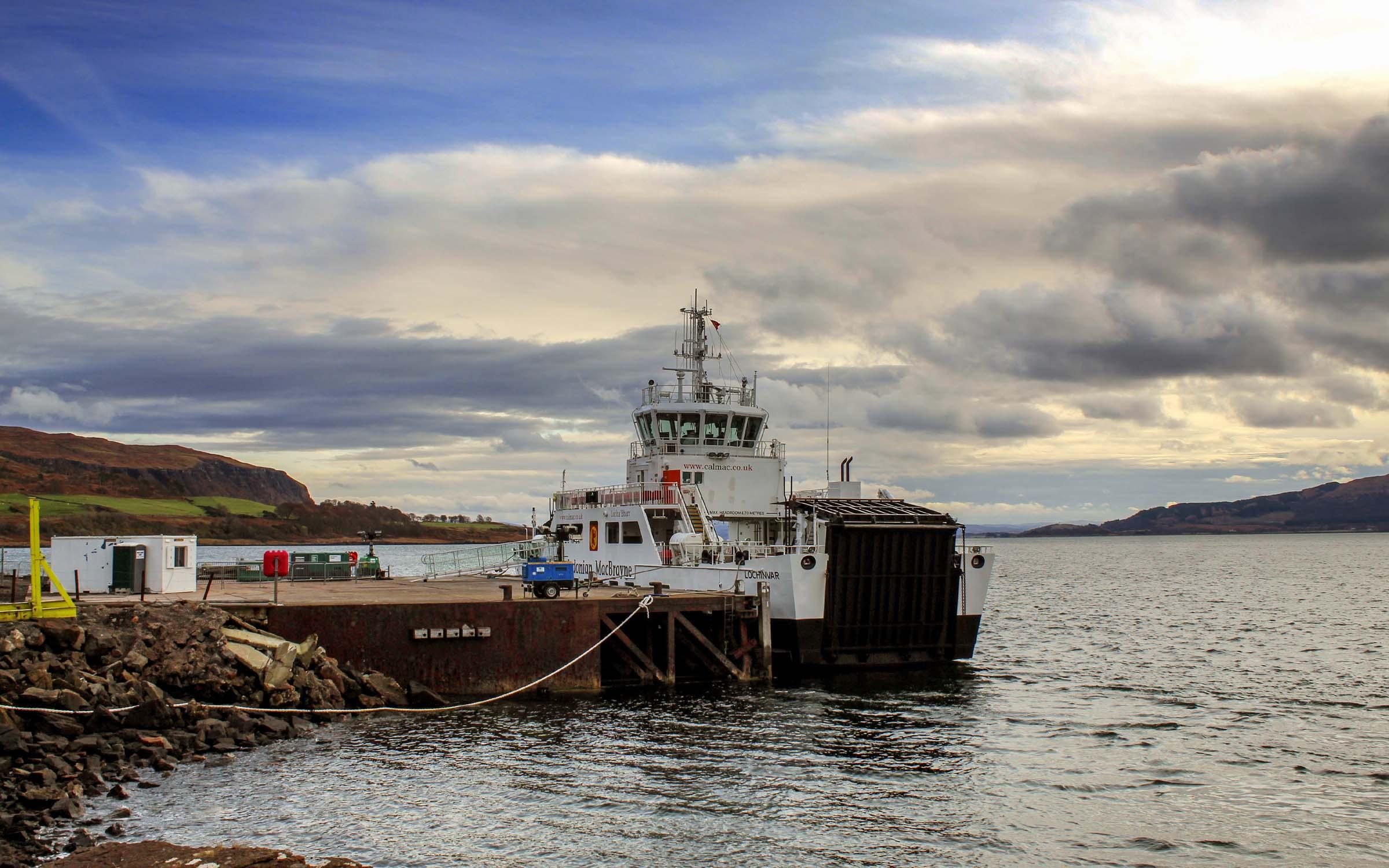 Lochinvar loading at Lochaline's steamer pier (Ships of CalMac)