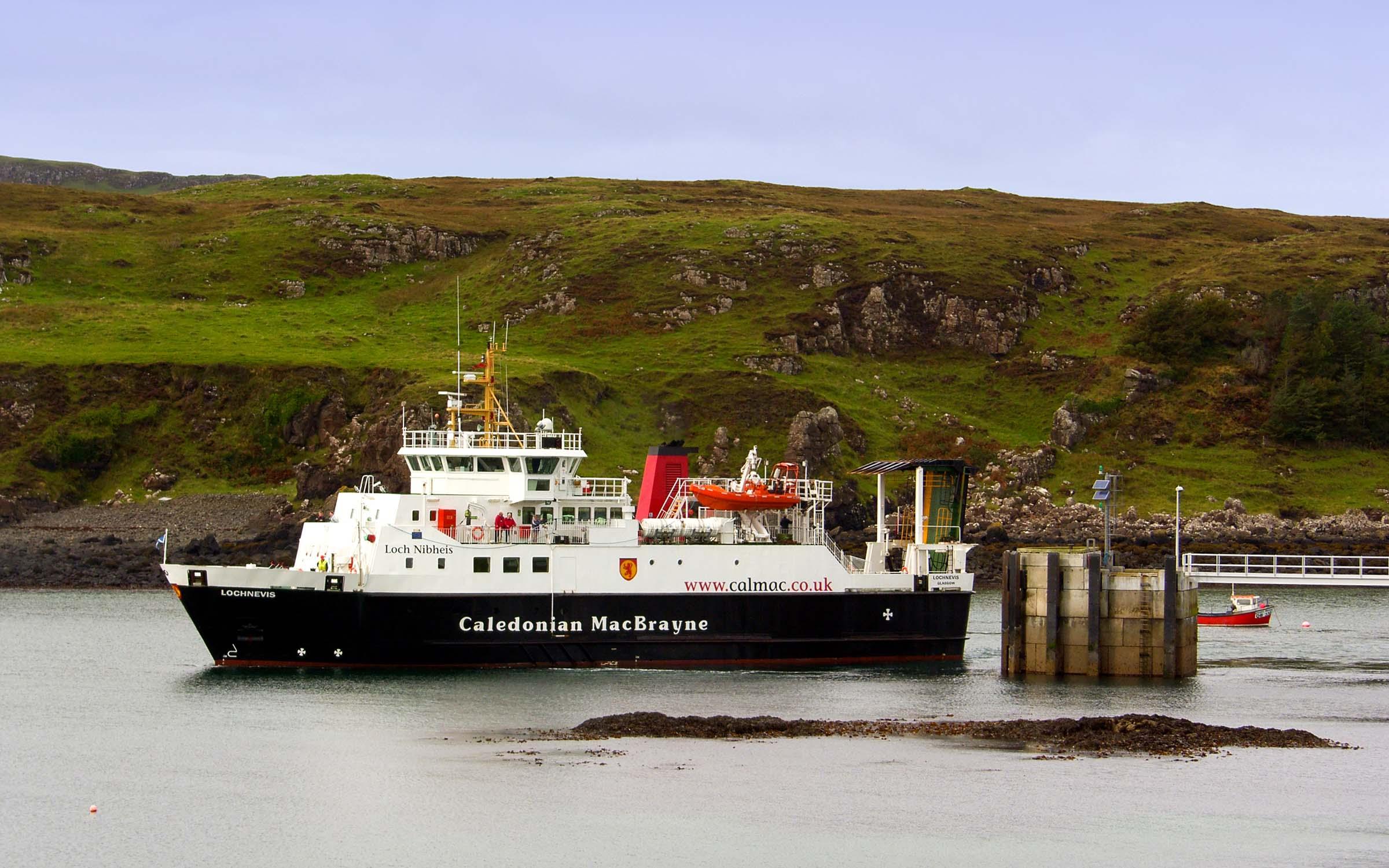Lochnevis leaving Muck (Ships of CalMac)