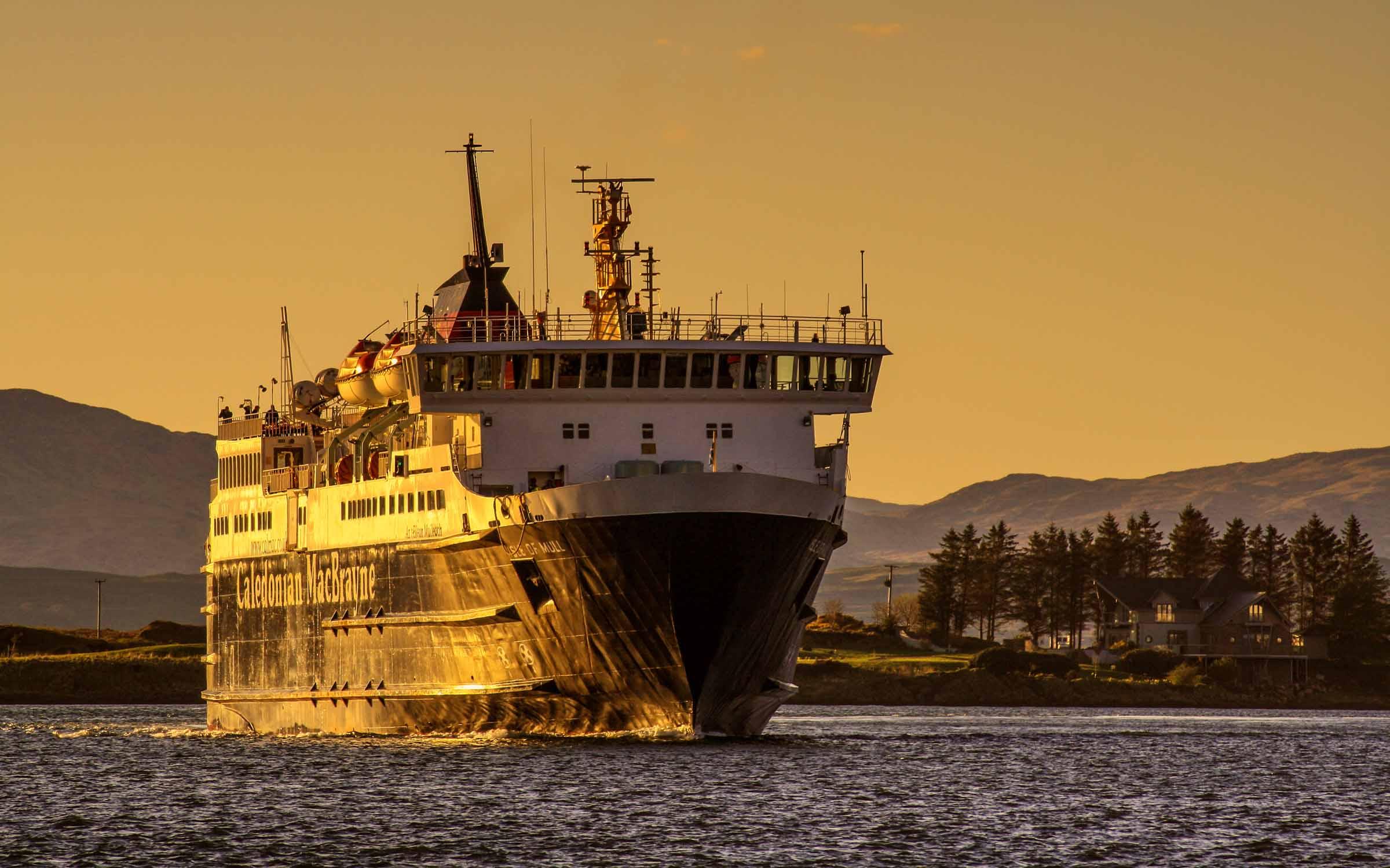 Isle of Mull in Oban Bay at sunset (Ships of CalMac)