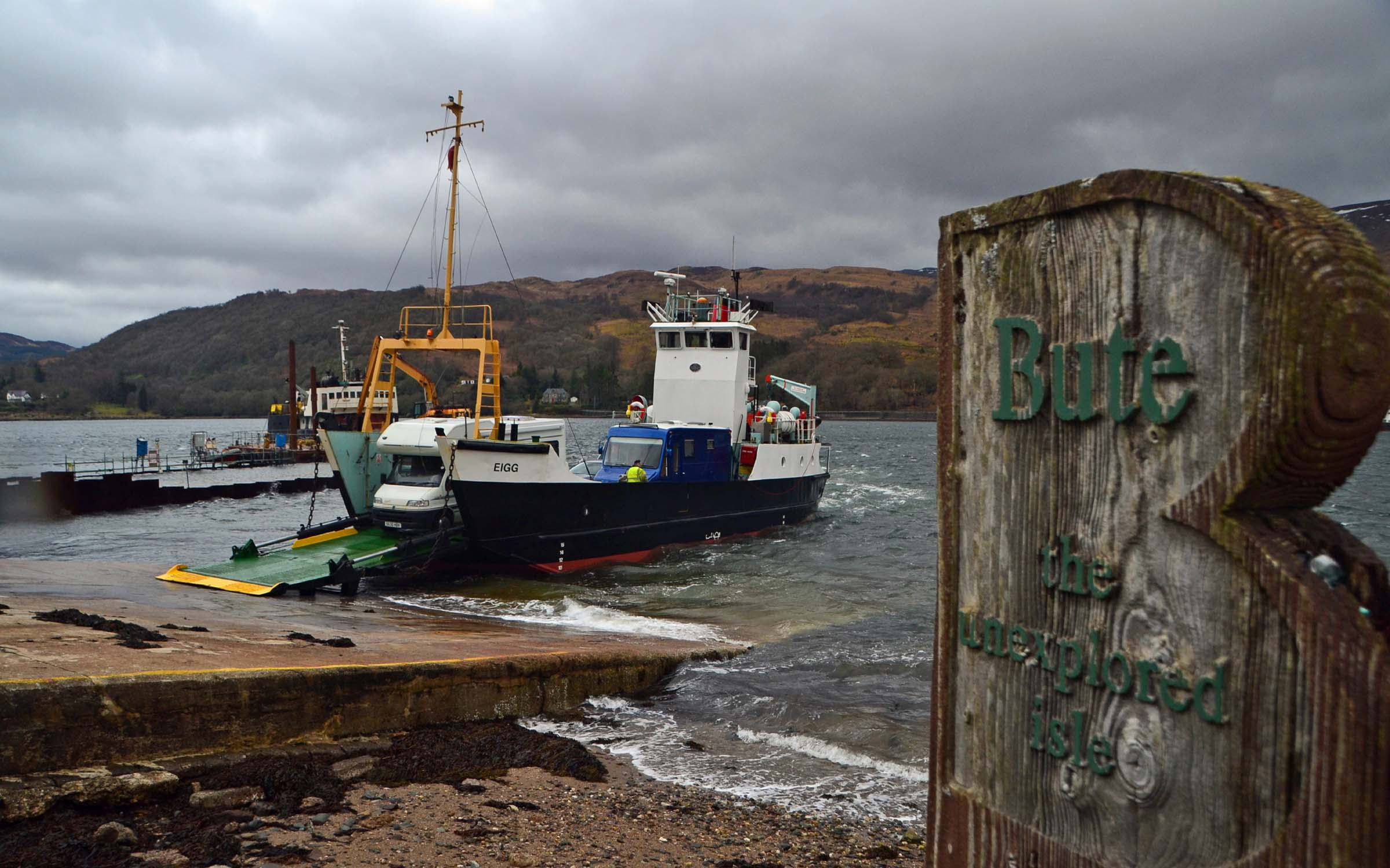 Debranded Eigg unloading for the last time at Rhubodach (Ships of CalMac)