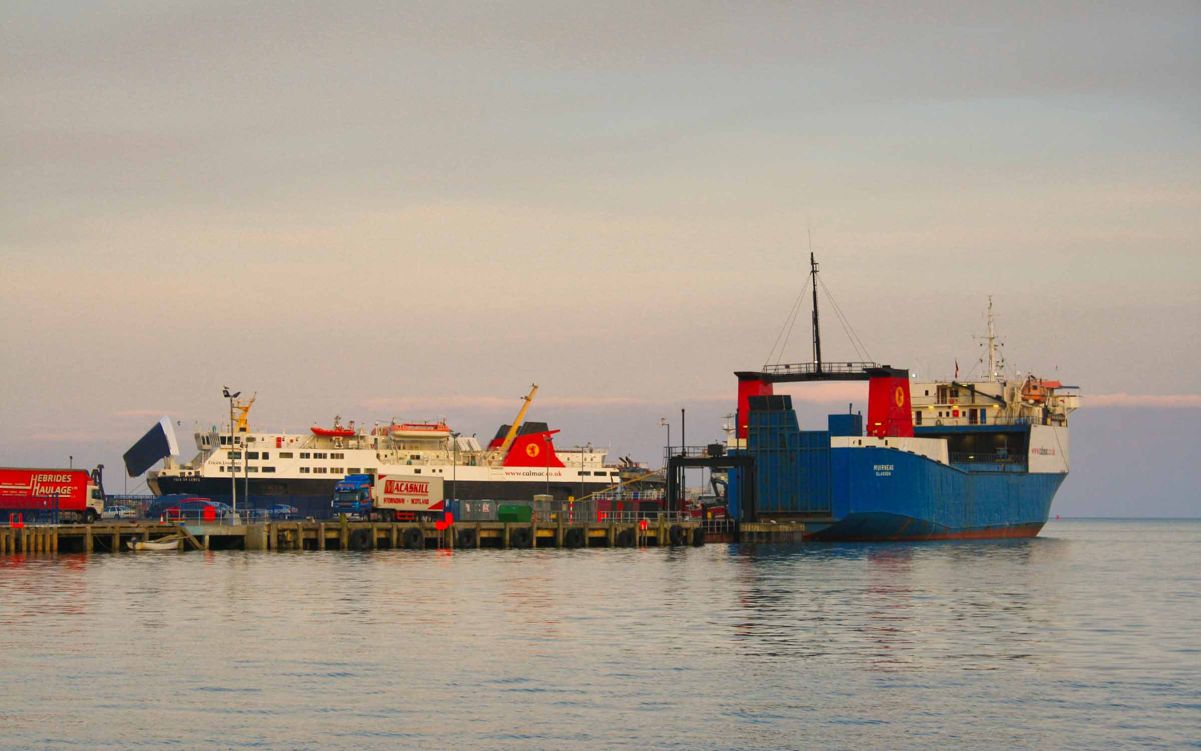 Muirneag and Isle of Lewis at Stornoway (Ships of CalMac)