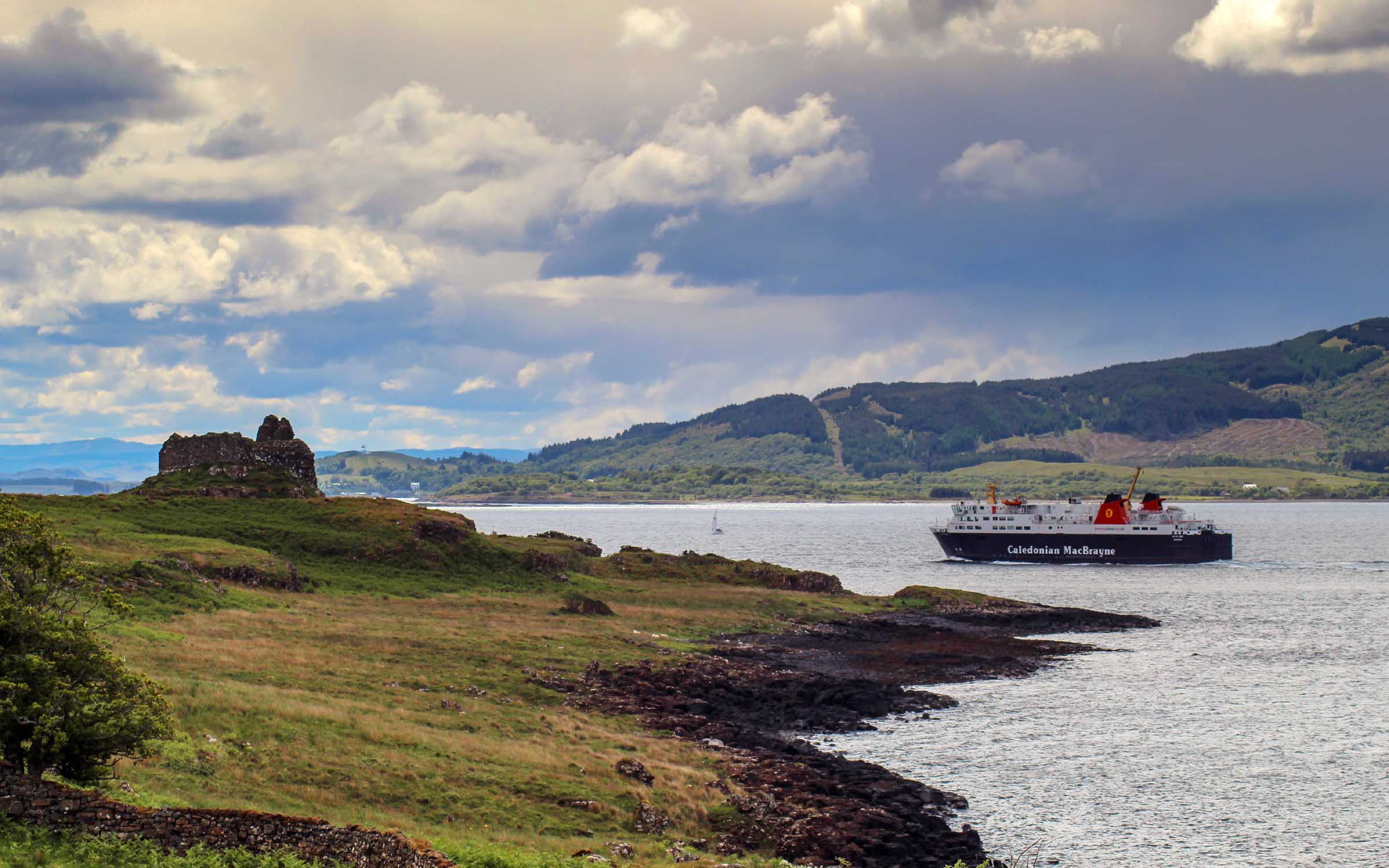 Isle of Lewis passing Ardtornish Castle (Ships of CalMac)