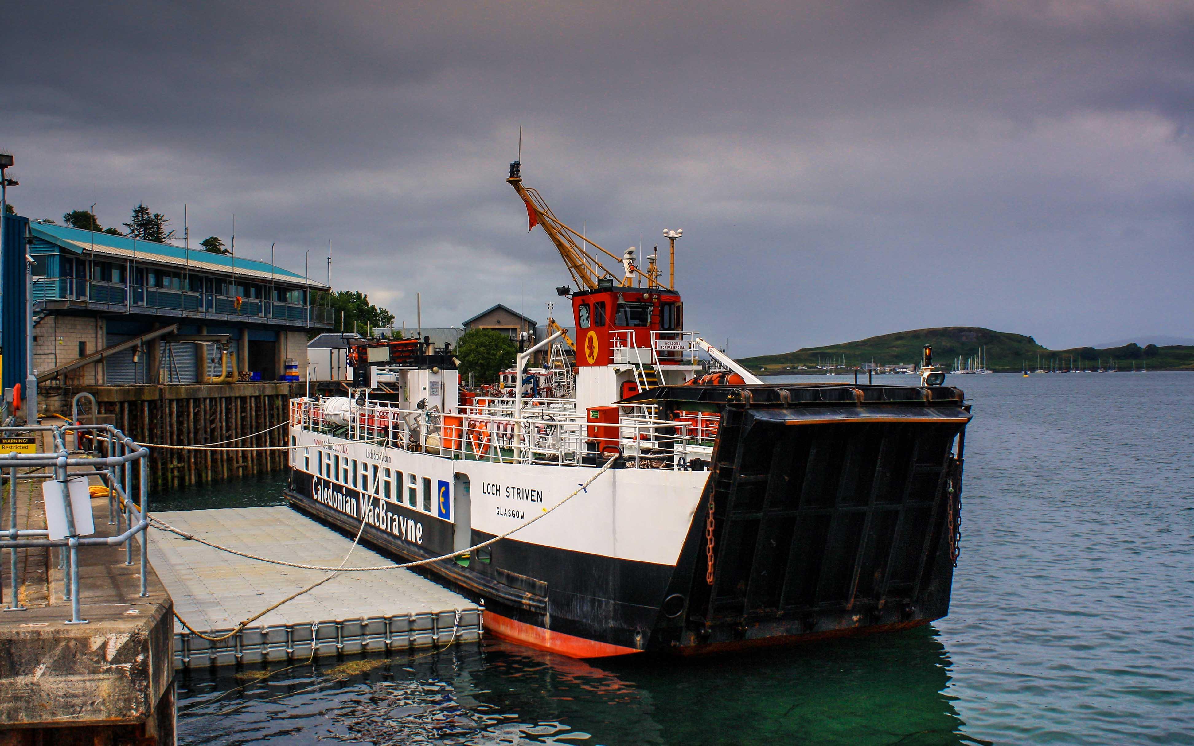 Loch Striven alongside her pontoon at Oban (Ships of CalMac)
