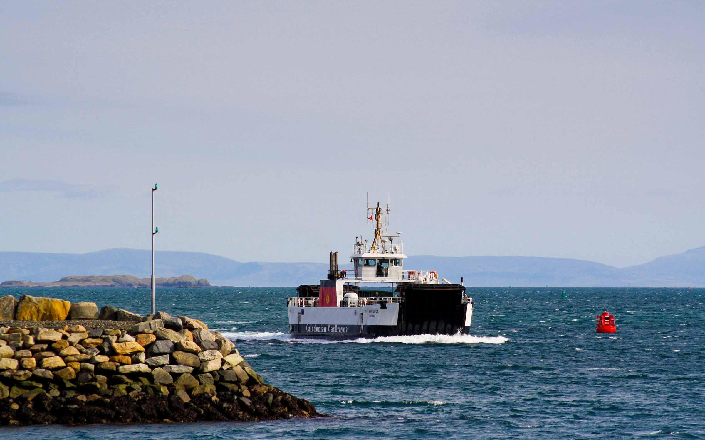 Loch Bhrusda approaching Berneray (Ships of CalMac)