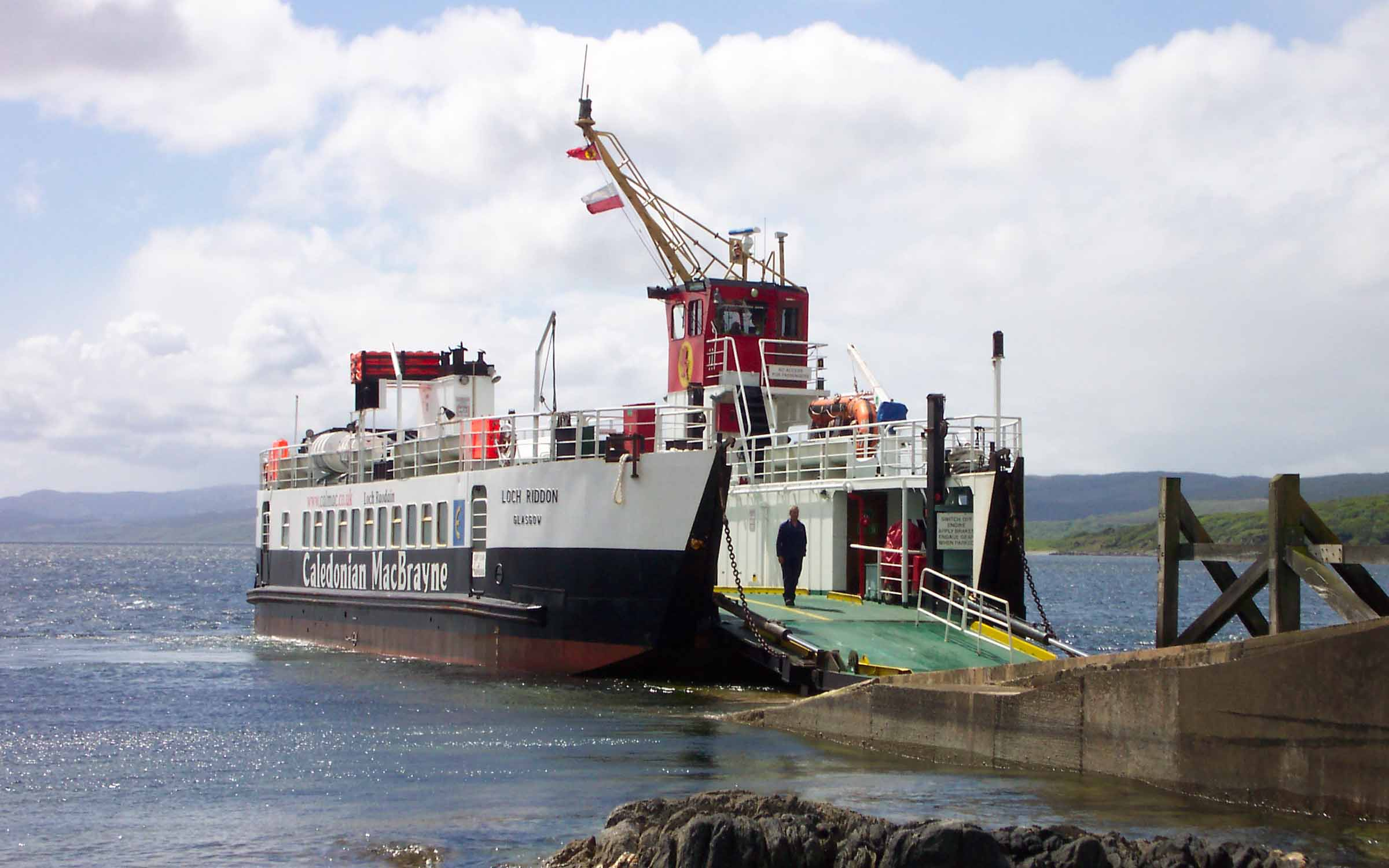 Loch Riddon relieving at Claonaig (Ships of CalMac)