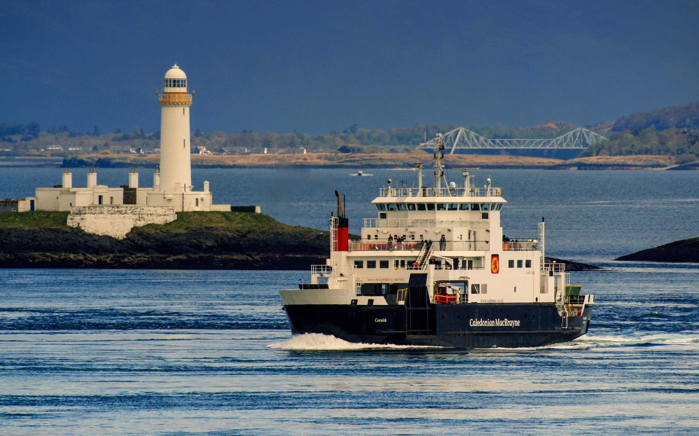 Coruisk passing Lismore lighthouse (Ships of CalMac)