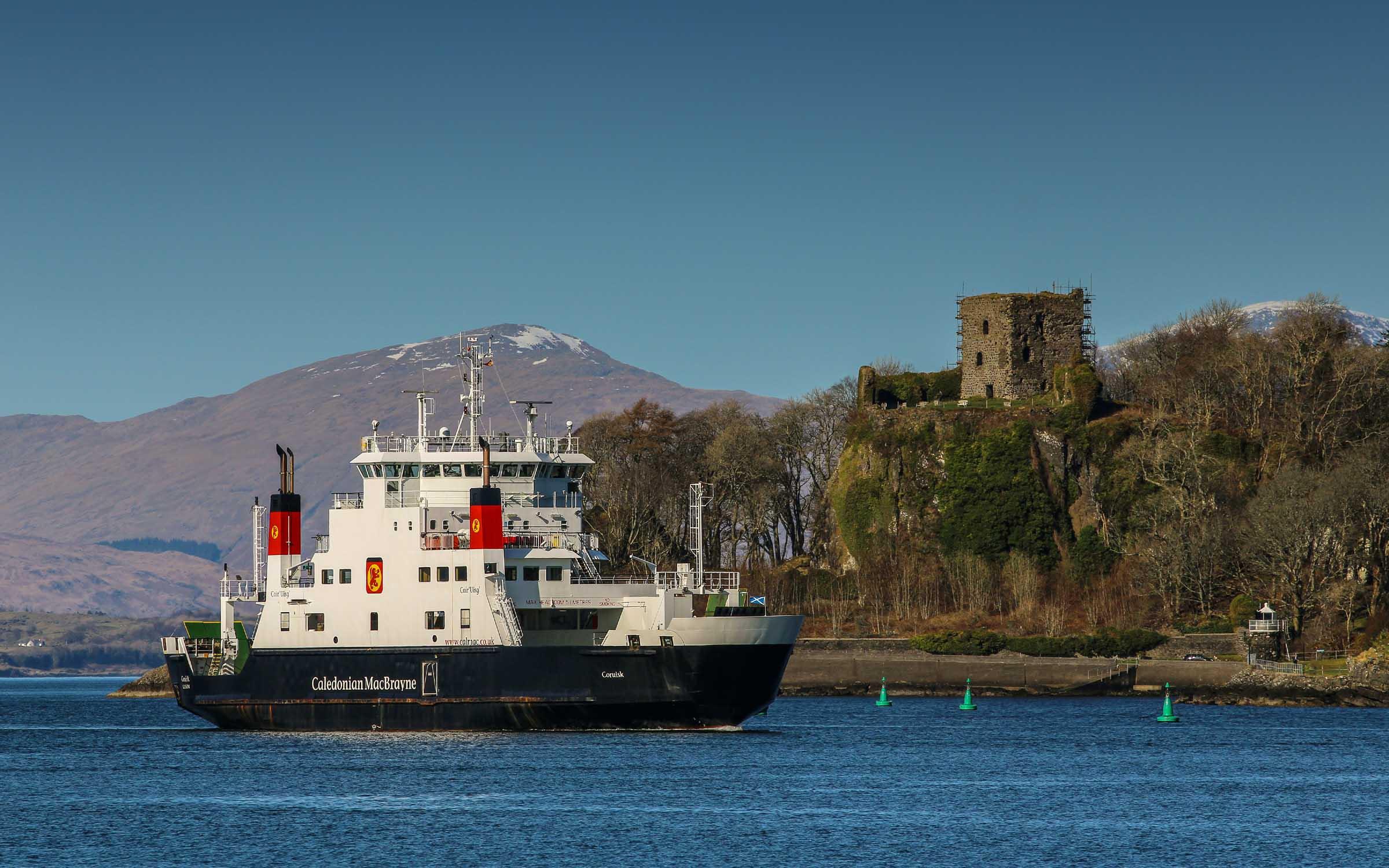 Coruisk passing Dunollie Castle, Oban (Ships of CalMac)