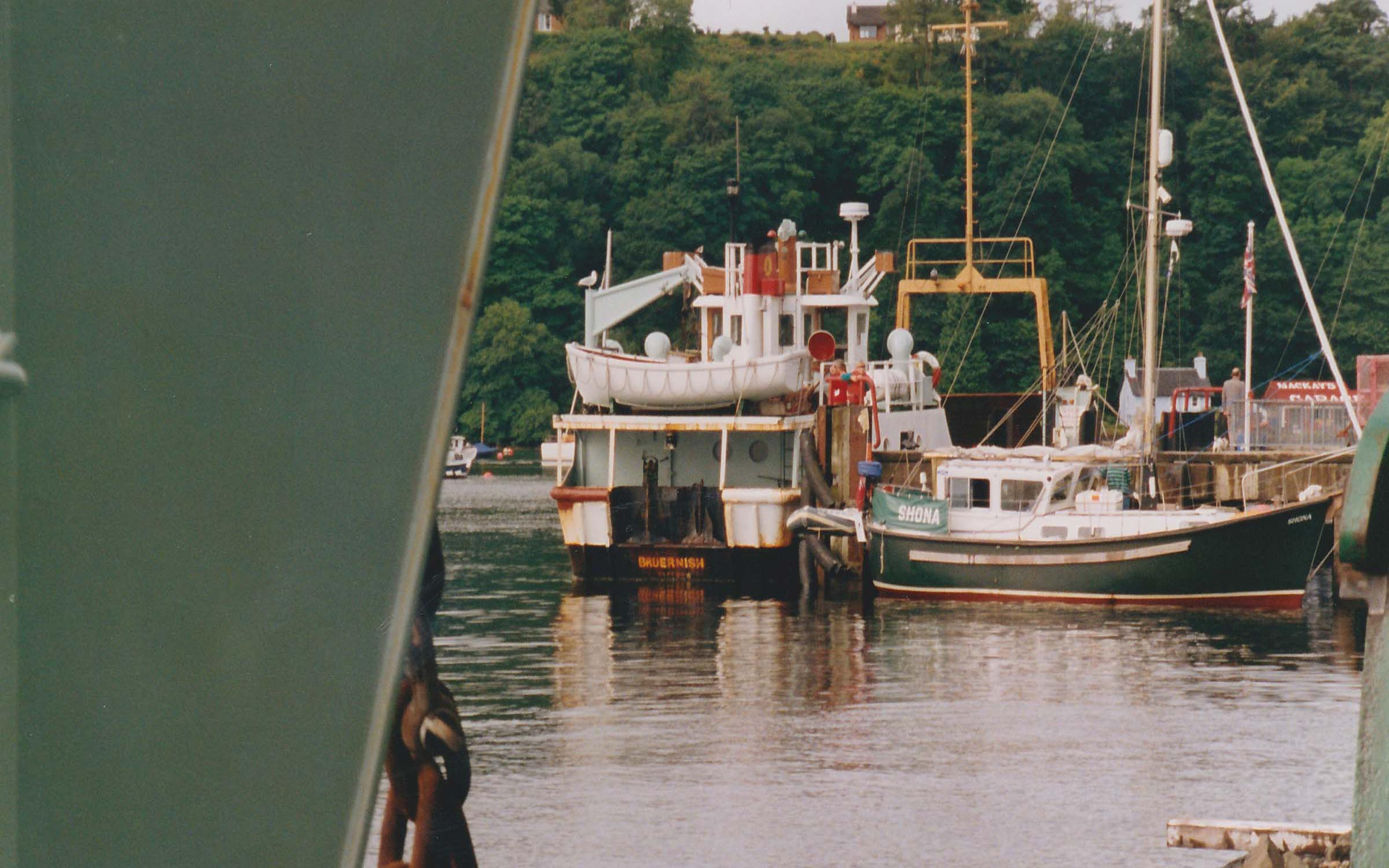 Bruernish at Tobermory pier, seen from Coll at the slipway (Ships of CalMac)