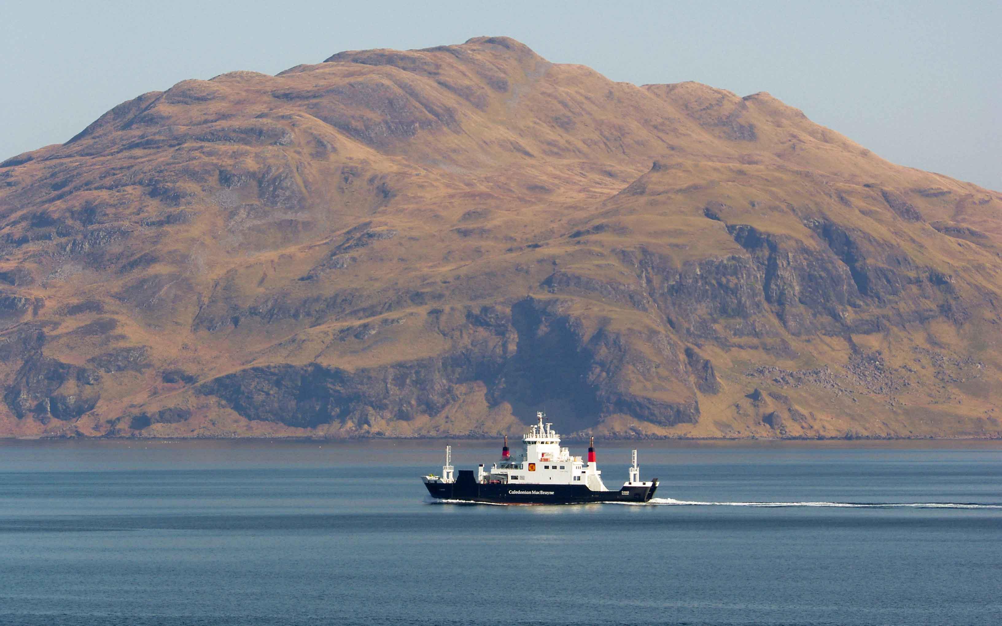 Coruisk passing Ben Hiant, bound for Mallaig (Ships of CalMac)