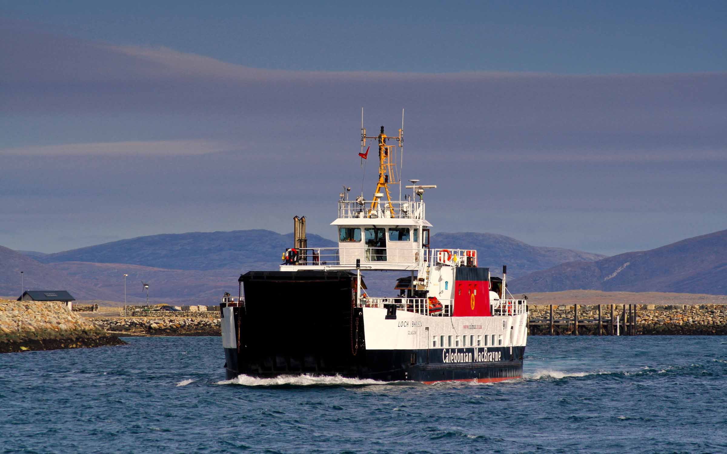 Loch Bhrusda approaching Otternish (Ships of CalMac)
