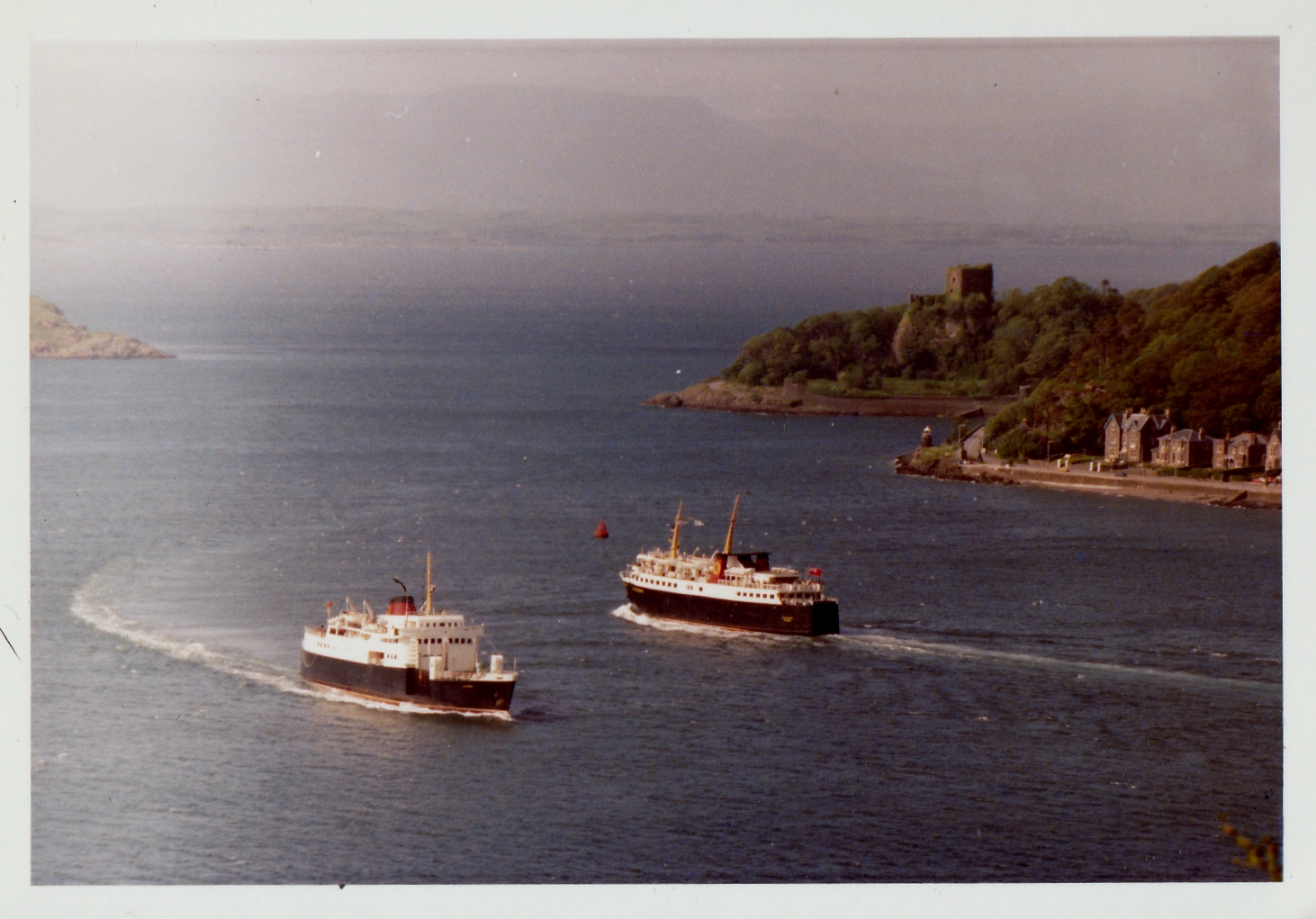Columba and Caledonia passing in Oban Bay (Jim Aikman Smith)