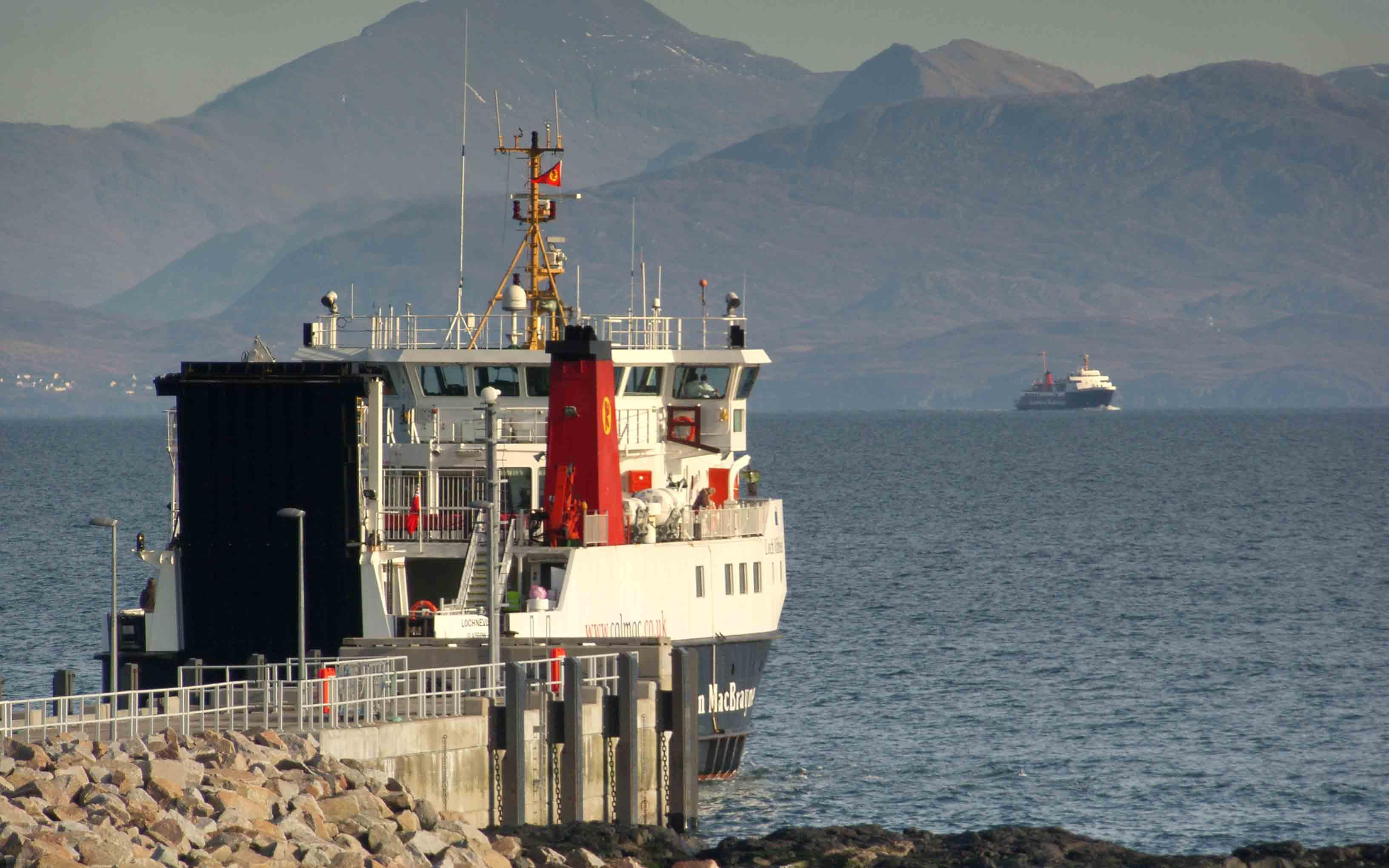 Lochnevis leaving Eigg (Ships of CalMac)