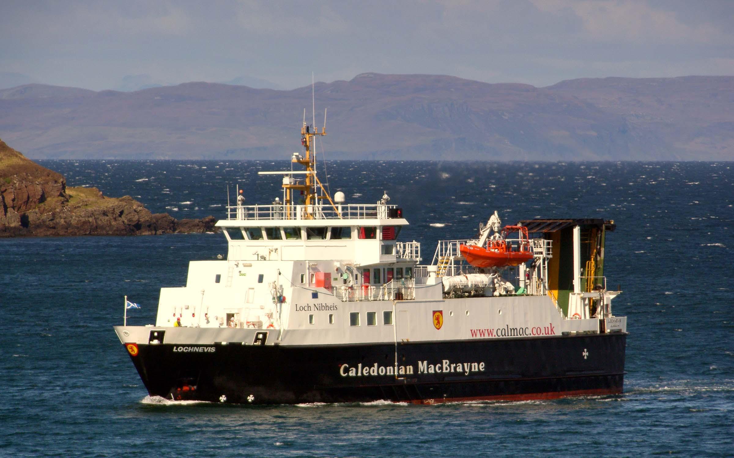 Lochnevis approaching Rum (Ships of CalMac)