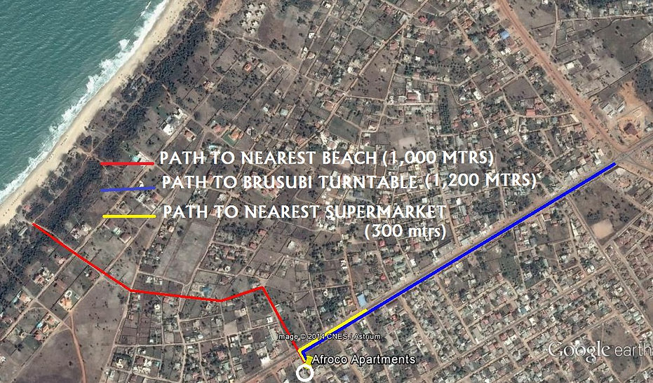 Directions on Map to Afroco