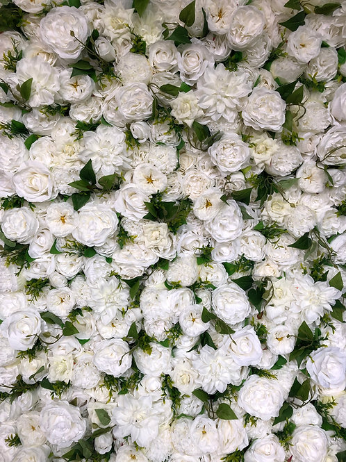white flower wall, ivory flower wall, foliage flower wall, green flower wall