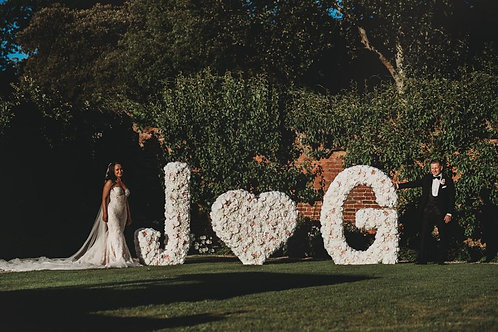 flower letter, floral letters, flower wall, flower wall hire, pink flower wall, light up letters, huge wedding flower letters