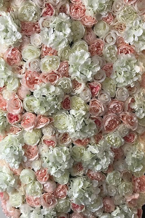 pink flower wall, ivory flowerwall, nude flower wall