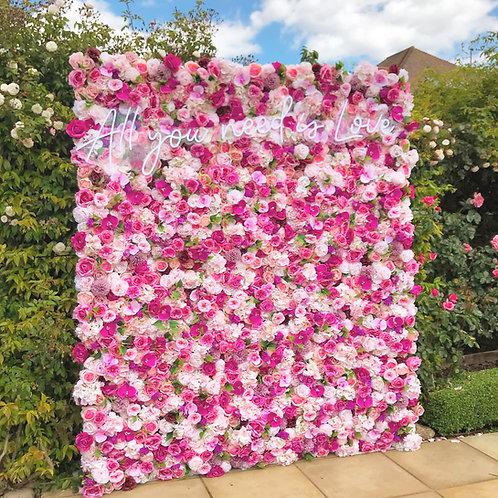 flower wall, pink flower wall, blush flower wall, flower wall hire, bright pink flower wall