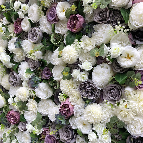 Ivory, White, Grey, Purple flower wall, lilac flower wall, white flower wall, wedding flower wall