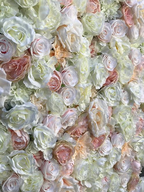 Soft Blush, Ivory, Champagne and Peach FlowerWall, David Austin, Peony flowewall