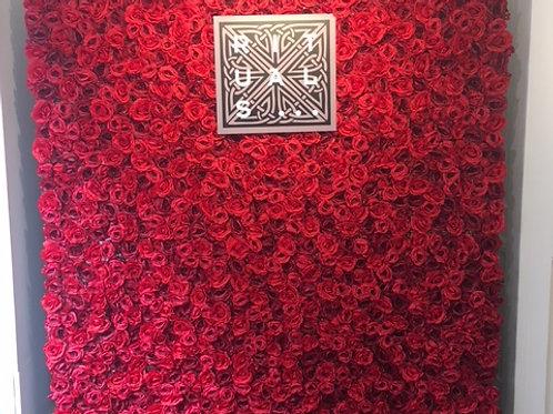 red rose flower wall, artificial flower wall