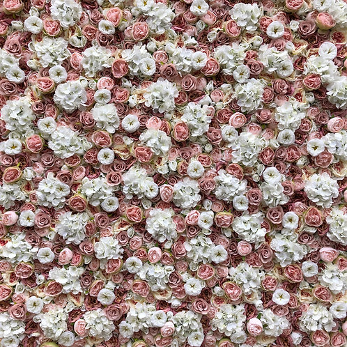 pink and ivory flower wall, pink and ivory flowerwall