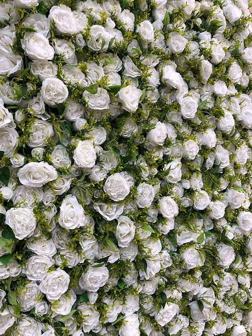 white flower wall, rose flower wall, foliage flower wall