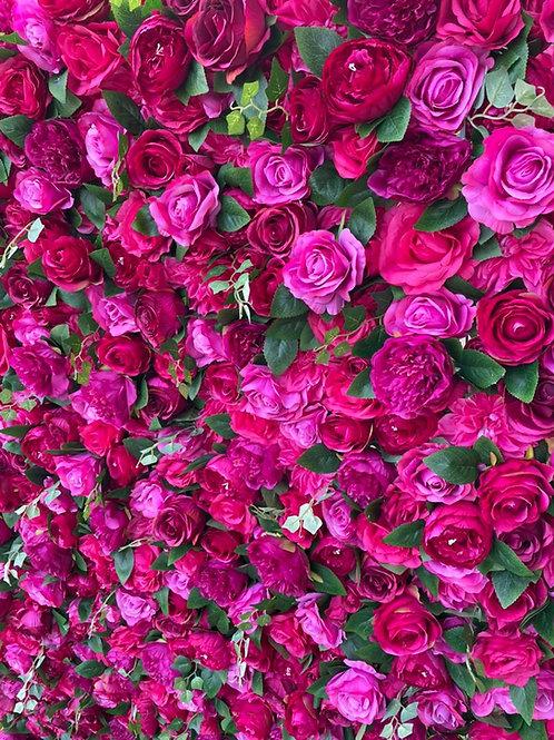 Nancy Flower Wall Fuchsia Pink Foliage Wall Bright Tropical