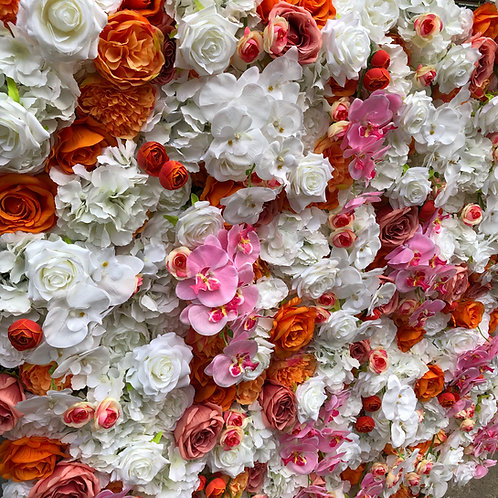 vibrant flower wall, burnt orange flower wall, bright flower wall, summer flower wall
