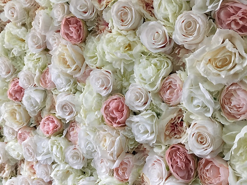 ivory flower wall, pink flower wall, nude flower wall
