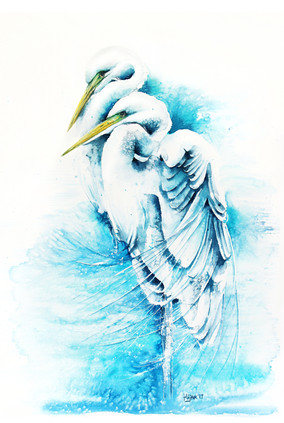 White herons, watercolour painting, size 37x58cm