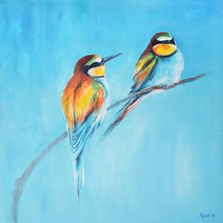 Bee-eaters, acrylic on canvas 80x80cm |  Żołny, Akryl na płótnie 80x80cm