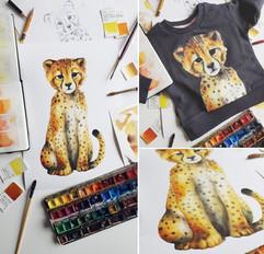 watercolor cheetah, art, Karolina Kijak H&M