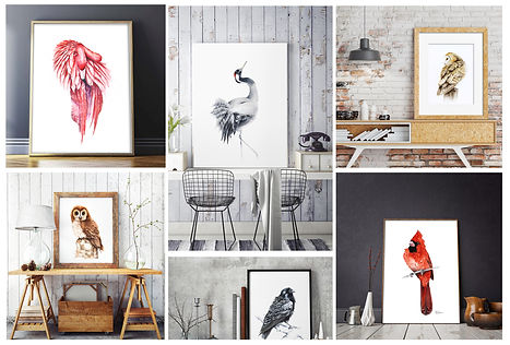 interiors with birds paintings