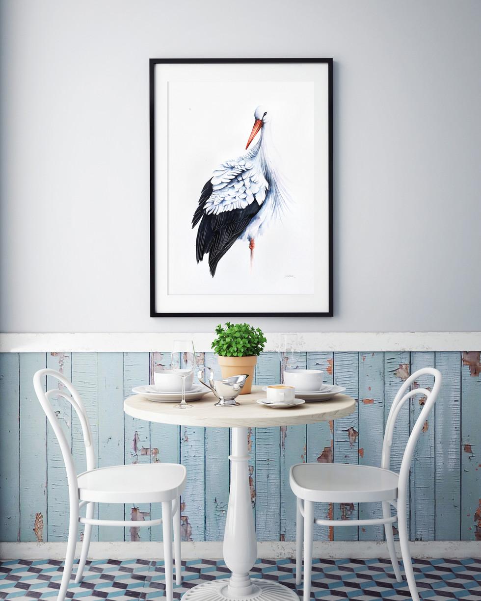 Framed White Stork