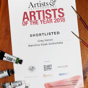 Czapla (Grey Heron) w finale Konkursu Artist of The Year 2018 magazynu Artists and Illustrators