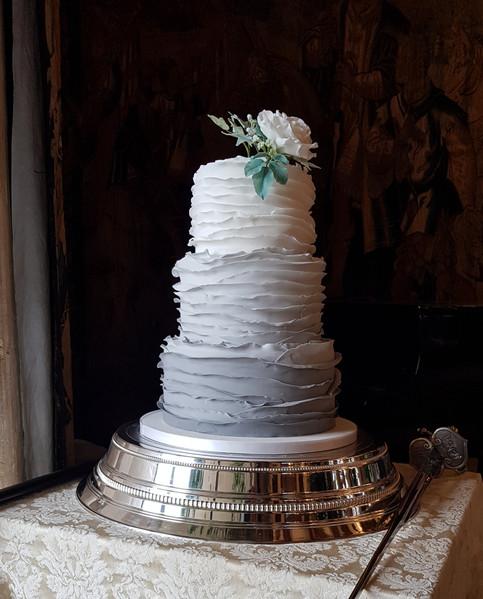 Grey ruffle wedding cake