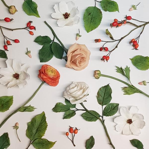 Autumn hand made flowers flat lay arrangement