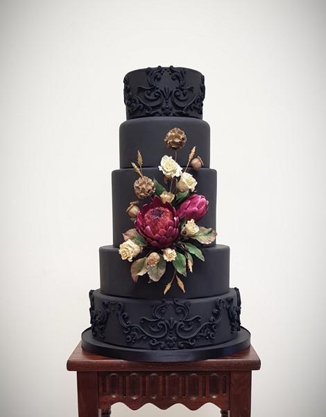 Black baroque wedding cake